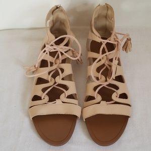 New Zara Gladiator Lace Up Back Zip Sandals